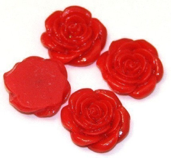 Wholesale -- 100 pcs of Acrylic  flower Cabochons - Spicy Red -- 22X21mm
