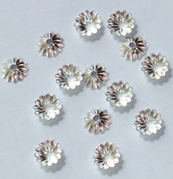 200 pcs of silver plated ribbed beads cap 6mm