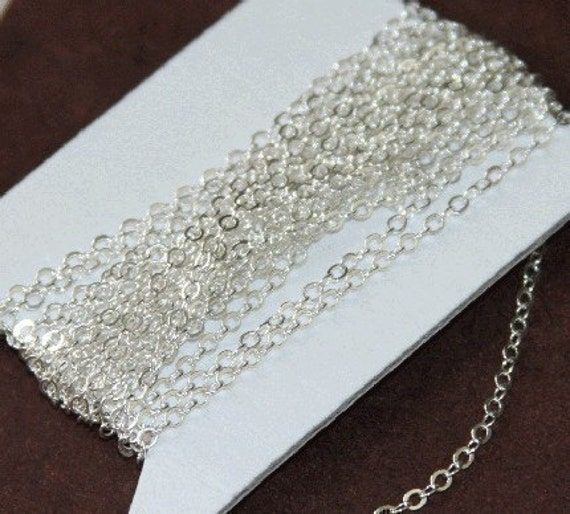 32 ft spool of Silver Plated Flat Cable Chain 3x3mm