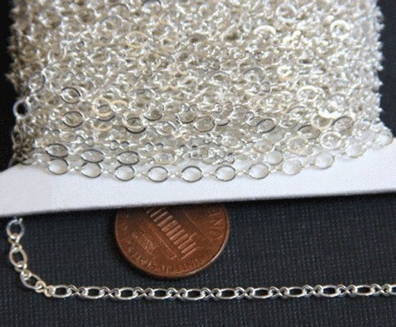 32 ft spool of Silver Plated figure 8 connector chain 2.9X 3.3mm links