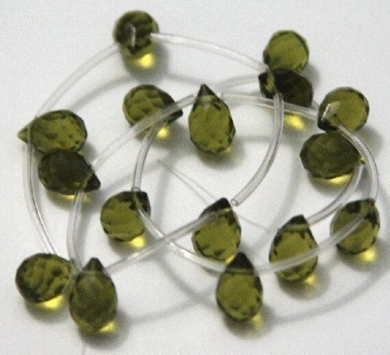 48 pcs of Olive glass quartz faceted teardrop beads 8X10mm
