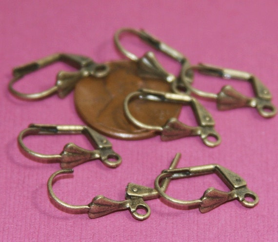 100 pcs of Antiqued brass leverback earwire with shell 9X17mm