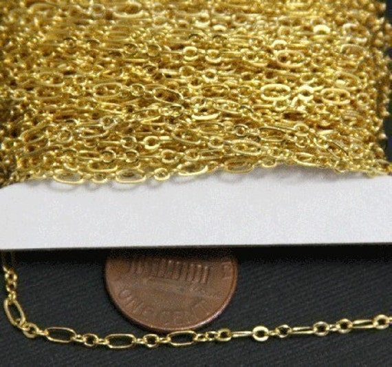 32ft spool of Gold plated (three in one) Long and Short chain 4.5X2.5mm -soldered links