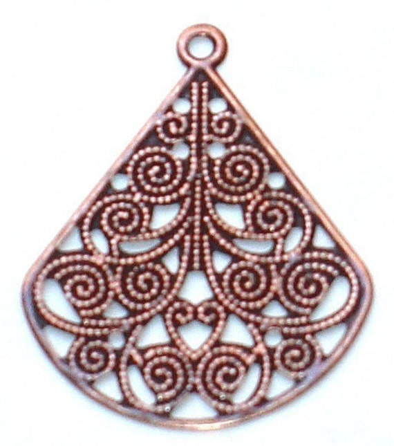 10 pcs of Antiqued copper filigree teardrop finding 30x23mm