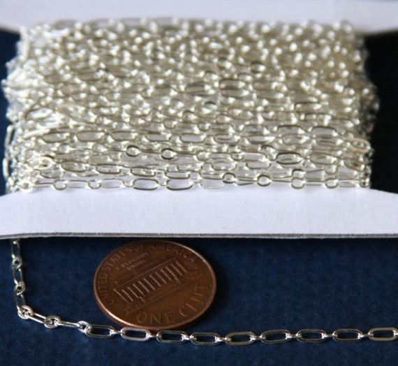 32 ft spool of Silver plated long and short chain 4X2mm - Soldered LInks