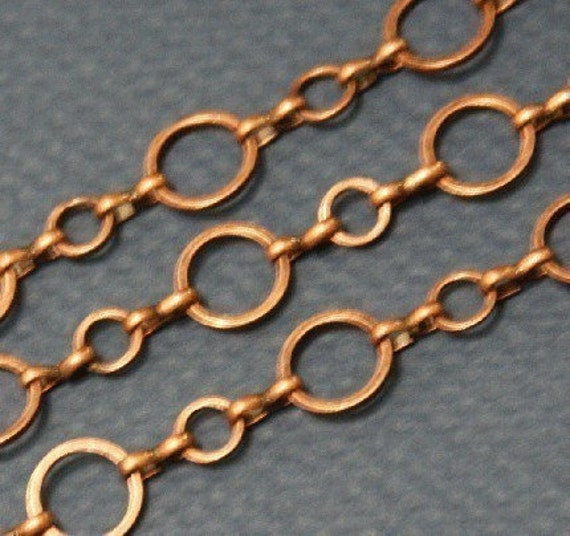 50 ft of antiqued red copper plated brass Circle links chain 6mm and 10mm