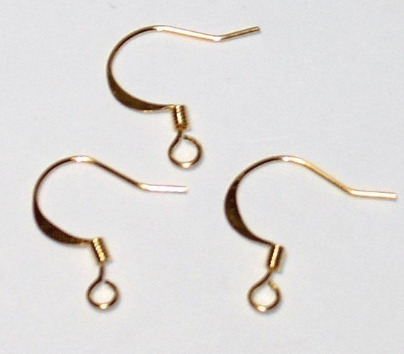 100 pcs of Gold plated flattened fishhook with coil ear wire 21 gauge