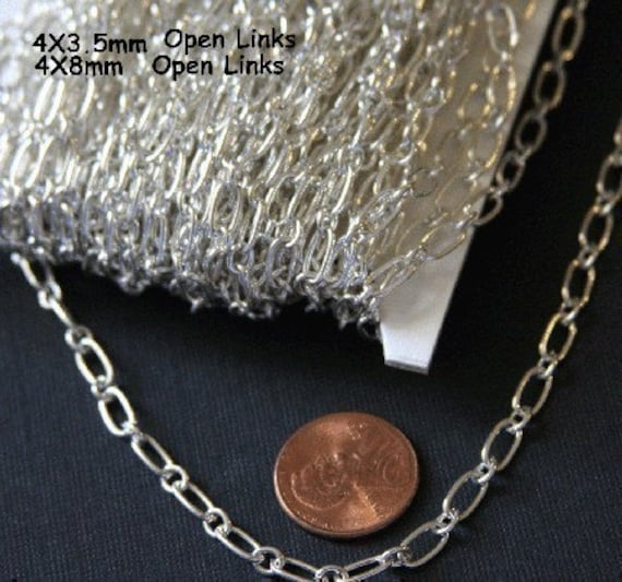 45 ft of Silver Plated Long and Short iron Chain 3.3X6.6mm- Open Link