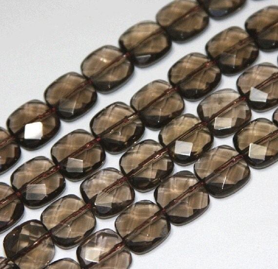 15-16 inch strand of Natural Smoky Quartz faceted square 12mm