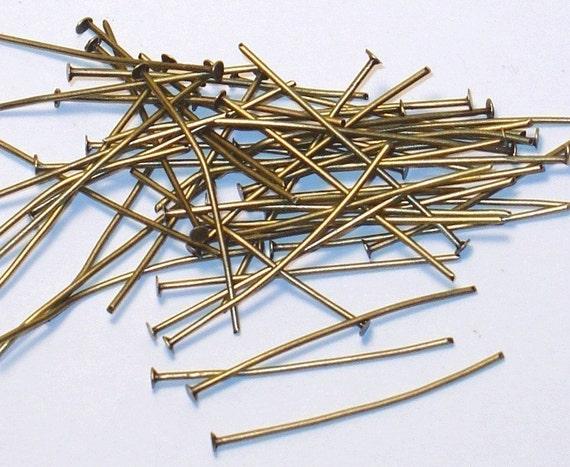 250 pcs ---- Antiqued Brass headpin 2 inch long  20 gauge