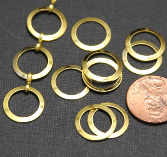 50 pcs of Gold color plated smooth donut rings 15mm