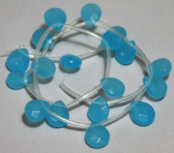 18 pcs of blue quartz glass  faceted flat briolette 9X11mm