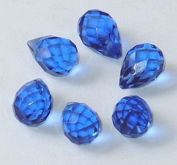 6 pcs of London Blue  glass faceted briolette 10X14mm