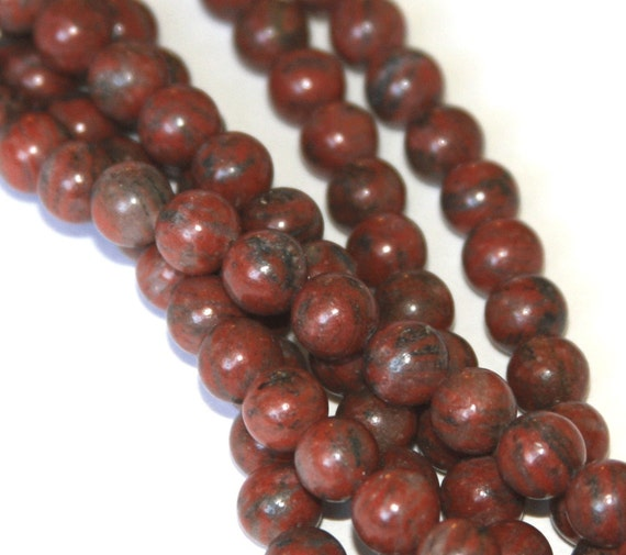 Sale ----- 16 inch strand of Red Sesame Jasper beads 8mm