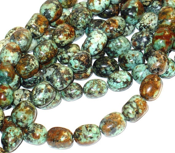 8 in strand of African Turquoise Smooth Nugget 13X18mm
