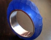 Ring - Hewn Ring in Silver and Resin - Ultramarine
