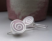 Silver Spiral Earrings in Pastel Pink Resin & Silver