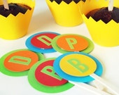 Choose 12 Custom Letter Cupcake Toppers
