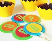 Choose 12 Custom Letter Cupcake Toppers