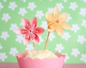 12 Millalove Paper Flower Cupcake Toppers