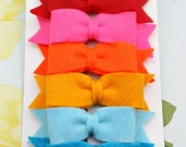 Felt Hair Bow Clips - Set of 6