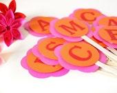 Choose 24 Custom Letter Cupcake Toppers