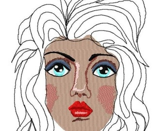 Womans Face Machine Embroidery Designs...1600