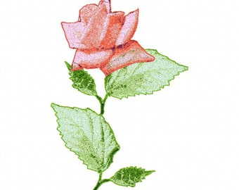 Photo Rose on Stem Machine Embroidery Designs...2138