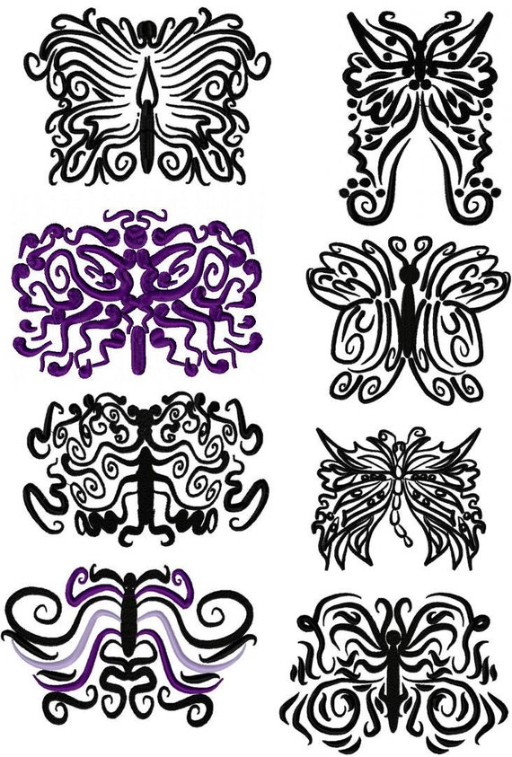 tattoo butterflies set of 8 machine embroidery designs by. Black Bedroom Furniture Sets. Home Design Ideas