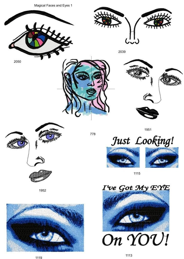 Eyes and faces set of machine embroidery designs by