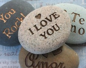 I Love You and more... - Say It on the Rock - home decor, paperweight - custom stone engraving