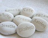 Personalized White Beach Pebble - Custom Engraving name or word pebbles