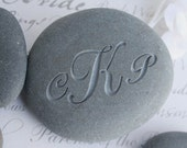 Custom Oathing Stone - for wedding or commitment ceremony - double sided engraved wedding stone with initials and date