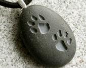 PUPPY lovers PAW prints  - Tiny PebbleGlyph (C) Pendant - engraved stone necklace