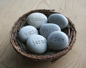 Personalized stone eggs in nest - Set of 6 engraved name stones - Christmas gifts by sjEngraving