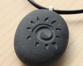 Sun necklace - Jewelry for him or for her - engraved stone pendant