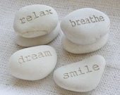 Personalized Engraved Gift - Beach stone in light color - Custom engraved gifts by sjEngraving