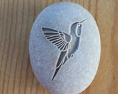 Hummingbird gift Stone talisman - Home decor paperweight