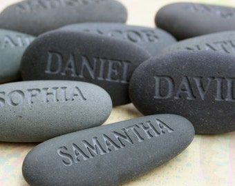 Personalized party gift - set of 9 engraved gray name stones