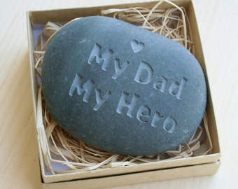 My Dad My Hero - Engraved stone paperweight for father, grandfather...
