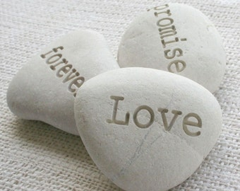 promise love forever  - set of 3 engraved stones  - engraved beach pebbles