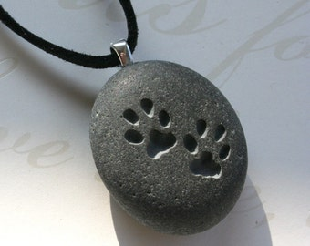 Engraved Beach Pebble Necklace - CAT paw print pendant with cord - for kitty lover - Tiny PebbleGlyph (C) Pendant