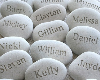 Name pebbles gift personalized - set of 14 engraved beach pebbles by sjEngravging