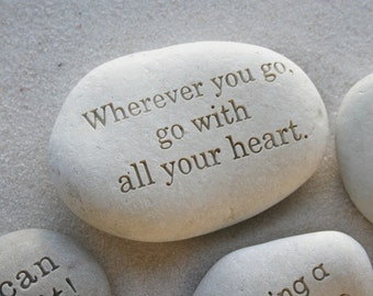 Personalized paperweight - custom message on beach pebble by sjEngraving