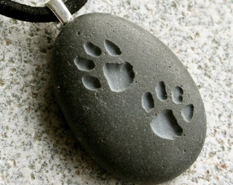 PUPPY lovers PAW print  - Tiny PebbleGlyph (C) necklace - engraved stone necklace by sjEngraving