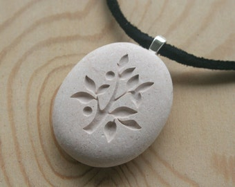 Tree of Life necklace - Custom double sided engraved beach stone necklace - Tiny PebbleGlyph (c)