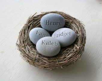 Personalized Engraved 4 name stones in bird nest - Family nest gift - Mom's Nest (c) by sjEngraving