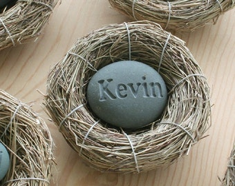Baby Nest - Custom engraved stone in bird nest - new mom, new dad , baby shower gift