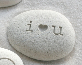I love you - engraved beach stone - Petite love stone (TM) - i heart u - by sjEngraving