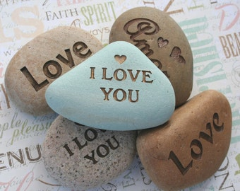 I Love You and more... - Say It on the Rock - home decor, paperweight - custom stone engraving with your words